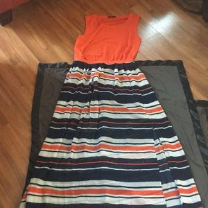 Striped dress with back out sexy chic sz Large
